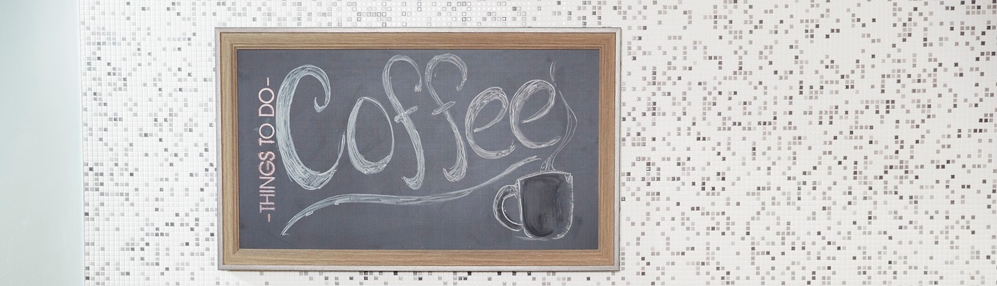 National Coffee Day sign in an office
