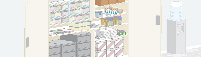 illustration of  a supply closet