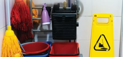Janitor closet with buckets, mop,