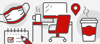 Red and white icons illustrating a mask, pad and pencil, desk setup and coffee cup.