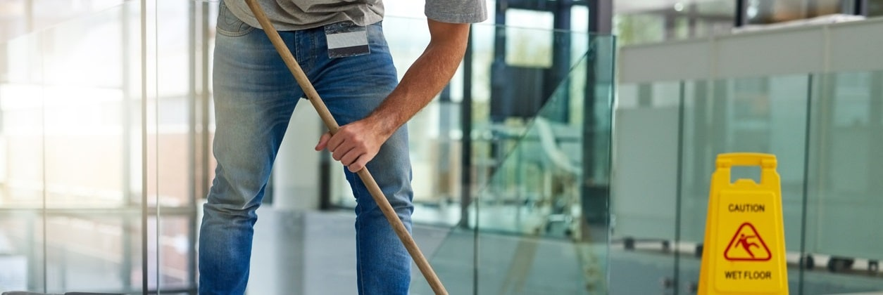 Facilities manager cleaning efficiently