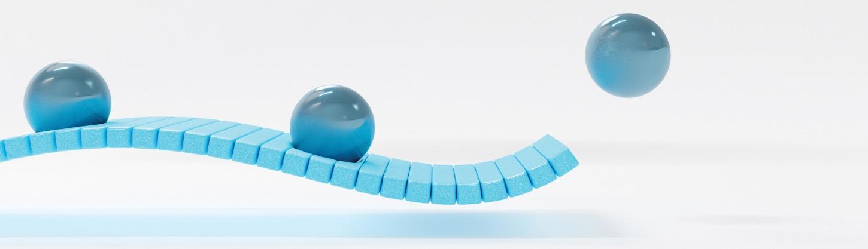 balls rolling down a curve