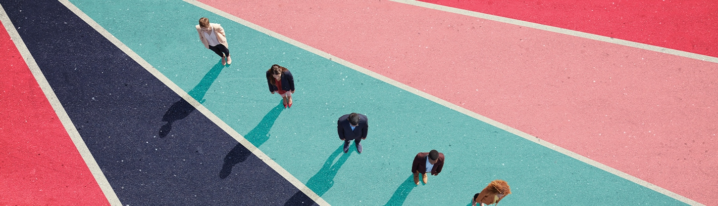 aerial view of a people lined in a row