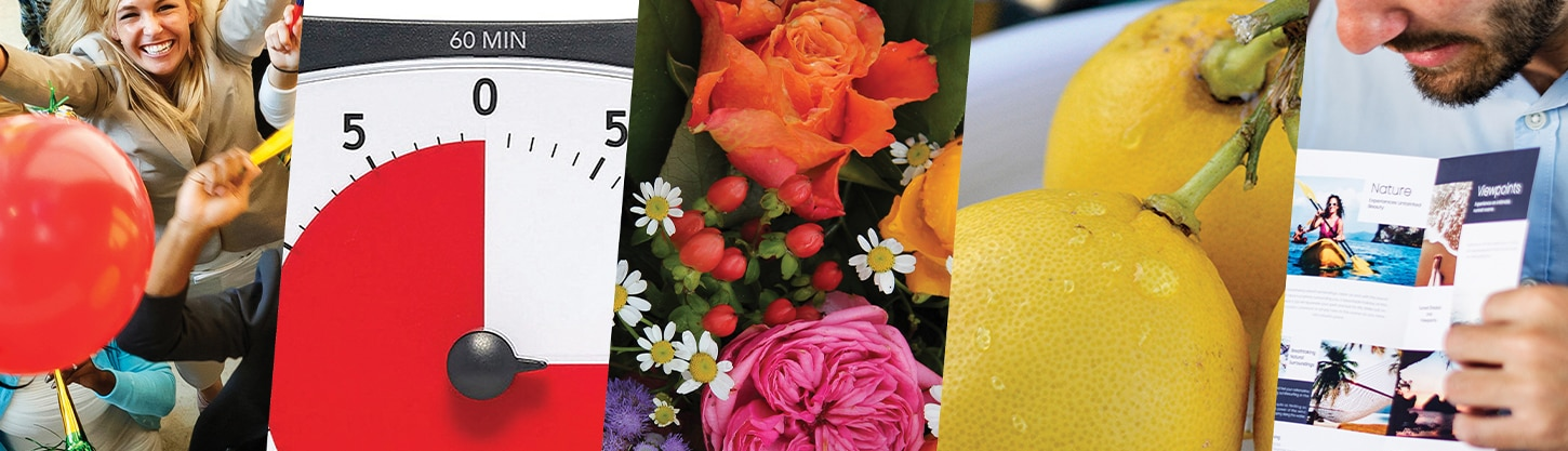 photo collage of a balloon, timer, flowers, lemons and brochure