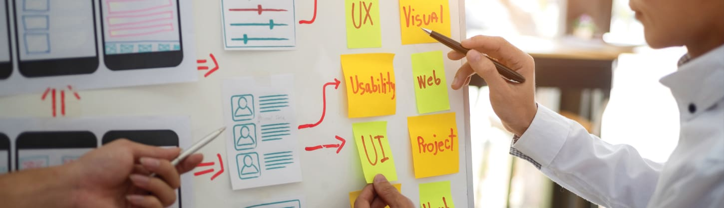 two people mapping out user experience journey