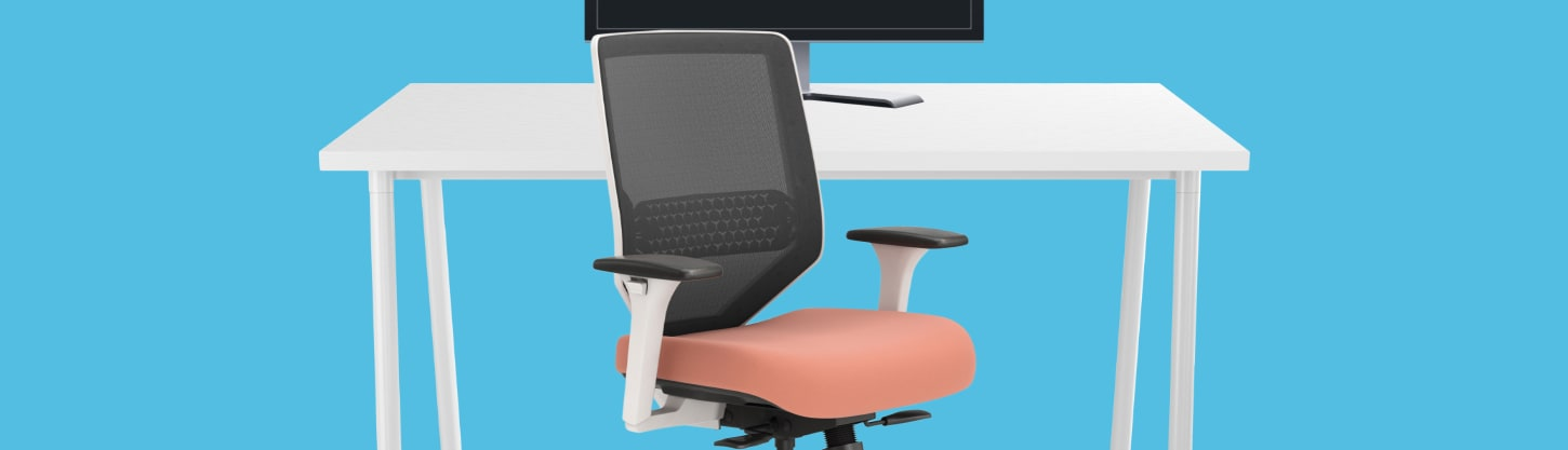 computer monitor, office desk and chair