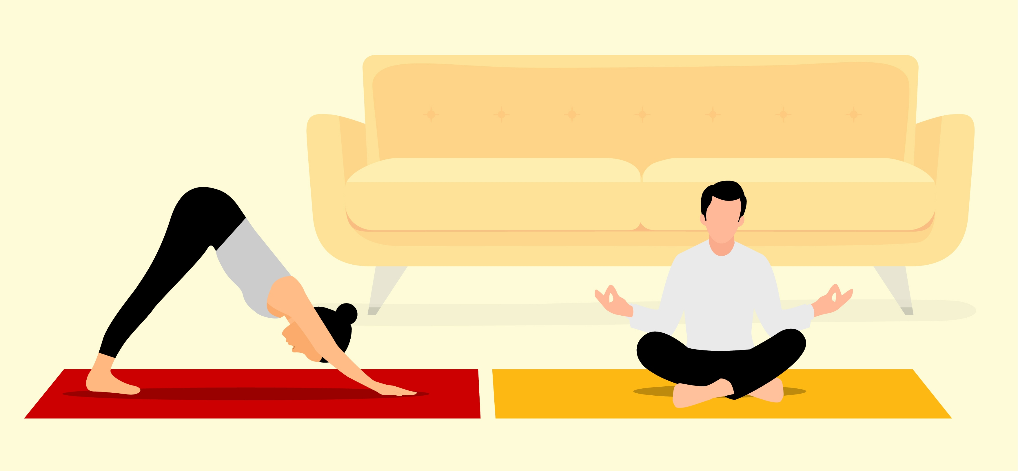 Woman on yoga mat doing a pose and a man on a yoga mat meditating.