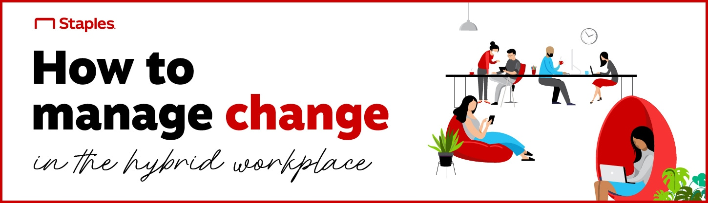 """Hero Banner titled: """"How to manage change in the hybrid workplace"""""""