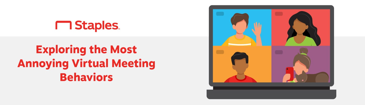 A title graphic introducing the most annoying virtual meeting behaviors survey with an image of a video call