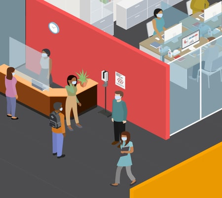 Illustration of people walking around an re-configured office wearing masks.